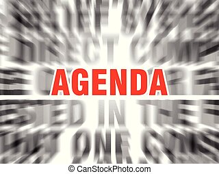 agenda - blurred text with focus on agenda