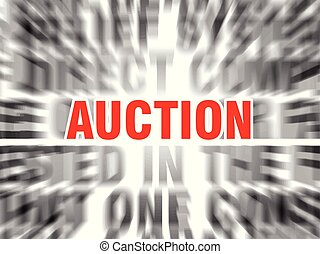 auction - blurred text with focus on auction