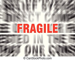 fragile - blurred text with focus on fragile