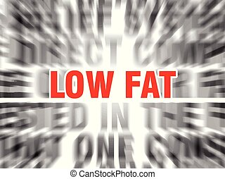 low fat - blurred text with focus on low fat