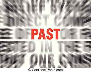 past - blurred text with focus on past