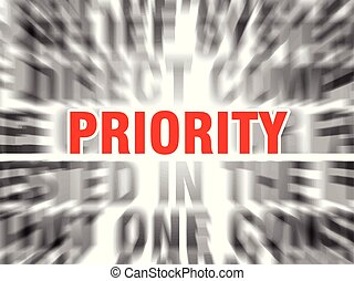 priority - blurred text with focus on priority