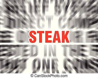 steak - blurred text with focus on steak