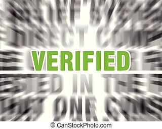 verified - blurred text with focus on verified