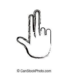 blurred thick contour hand showing two fingers icon