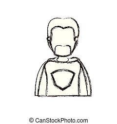 blurred thick silhouette caricature faceless half body super dad hero with beard