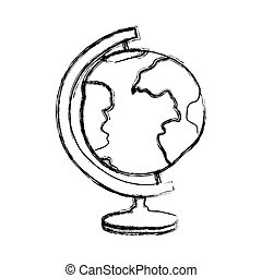 blurred thick silhouette of hand drawn earth globe
