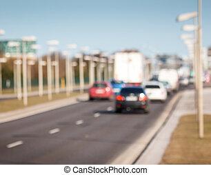 Blurred traffic background
