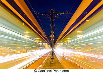 Blurred tram in Margeret bridge at night Budapest