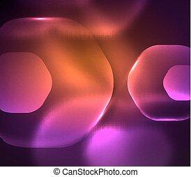Blurred transparent hexagons on dark, digital abstract...