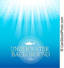 Blurred underwater background with sunbeams