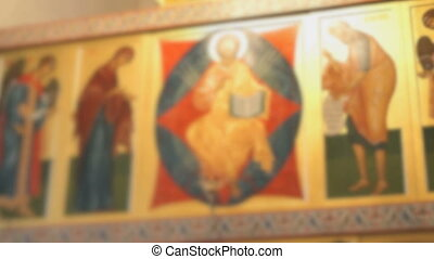 Orthodox Golden Iconostasis in the Orthodox Church - Blurred...