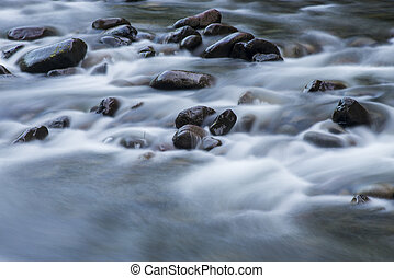Blurred water among rocks in a river