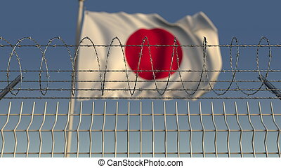 Blurred waving flag of Japan behind barbed wire fence. 3D rendering