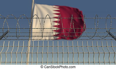 Blurred waving flag of Qatar behind barbed wire fence. 3D rendering