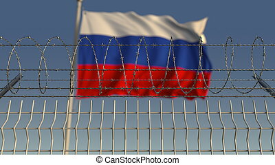Blurred waving flag of Russia behind barbed wire fence. 3D rendering
