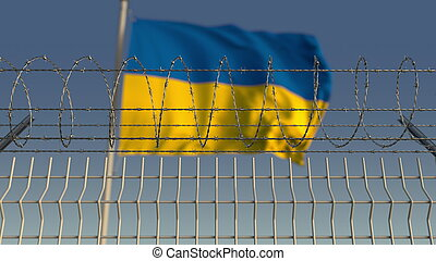 Blurred waving flag of Ukraine behind barbed wire fence. 3D rendering