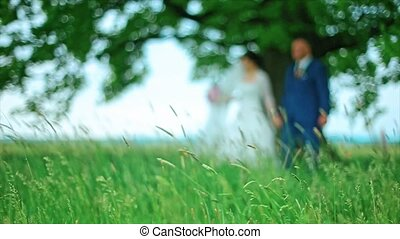 Blurred Wedding Couple Walk in the Forest