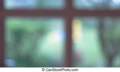 Blurred window background.
