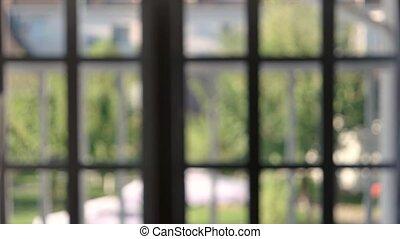 Blurred window frames indoor.