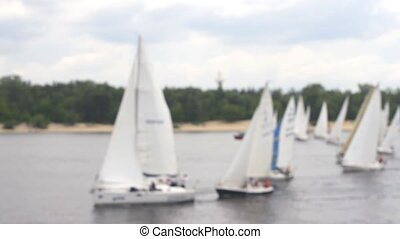 Blurred yacht regatta in competitions
