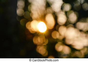 blurring of sunrise in the morning