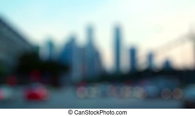 Blurry Abstract of Urban Skyline with Traffic