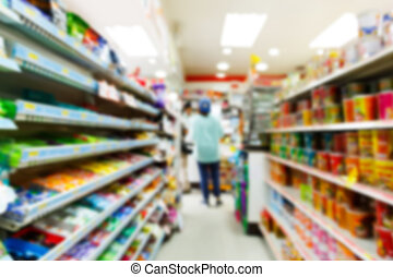 Blurry convenience store shot by moving camera with slow ...