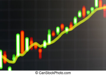 blurry defocused image of graph on computer screen