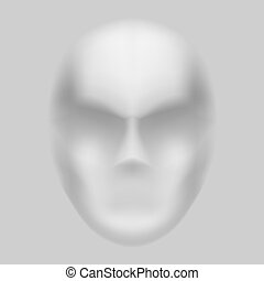 Blurry face - Human face with blurry features on grey...