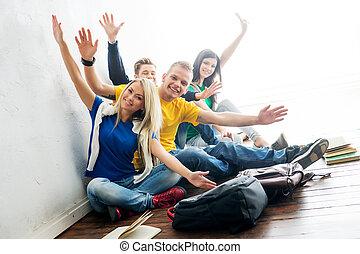 blurry., groupe, students., étudiants, waving., foyer, coupure, fond, heureux