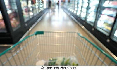 Blurry images of supermarket cart in big stores