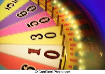 blurry, kleurrijke, gloed, geluksspelletjes, roulette