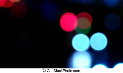 Blurry light driving at night - Defocused blurry light...