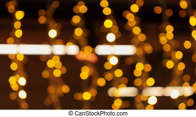 Blurry lights of urban Christmas illumination. Golden bokeh, abstract background, horizontal banner