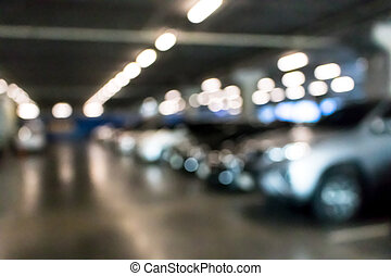 Blurry of indoor parking lots