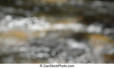 blurry of water flowing in river and follow focus to clear