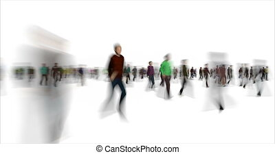 Blurry people figures time lapse footage. Blurred passerby silhouettes walking in different directions animation. Rush hour, loneliness concept. Busy men and women crowd in haste video