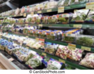 blurry Supermarket - blurry salad lane in Supermarket