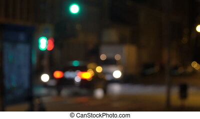 Blurry view of night streets and lights at night