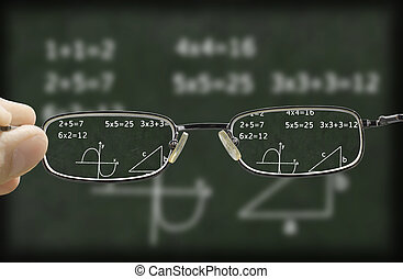 blurry vision of a chalkboard corrected by the glasses