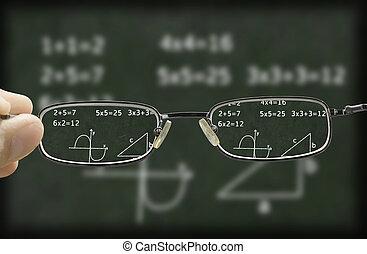 blurry, vision, von, a, tafel, corrected, per, der, brille