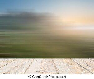 blurry, wiese, landschaftsbild, mit, hölzerner stock, auf,...