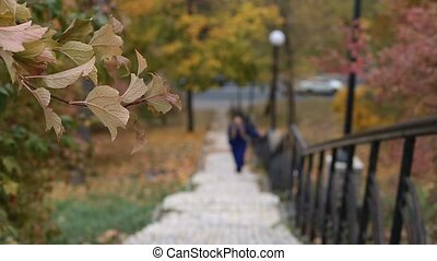 Blurry woman climbing up the stairs in autumn - Blurry young...