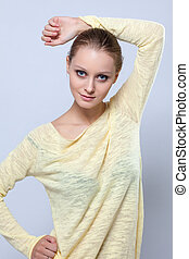 blusa, amarela, posar, bonito, retrato, menina