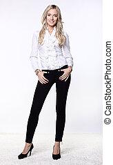 blusa, mulher, atraente, negócio, calças