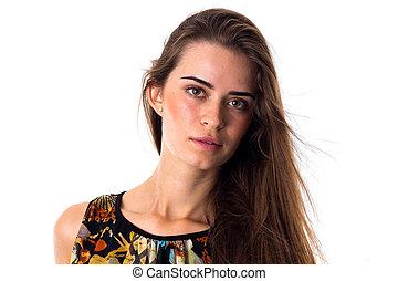 blusa, mulher, jovem, cabelo longo, varicolored