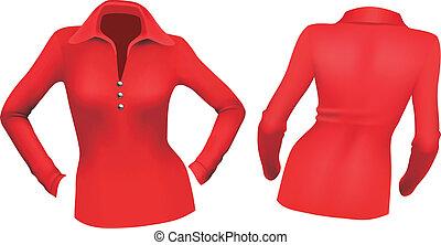 blusa, vermelho