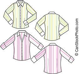 bluse, mode, dame, stribe, formelle