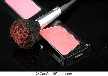 blush powder and brush